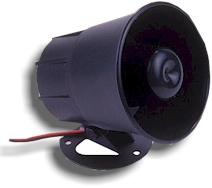Weatherproof Alarm Siren. This low power but very loud siren can be driven directly from the 6 zone  Base Receiver.